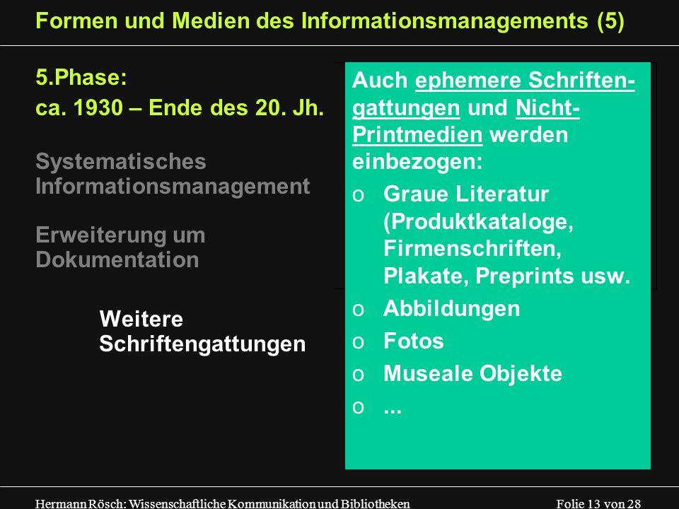 Hermann Rösch: Wissenschaftliche Kommunikation und Bibliotheken Folie 13 von 28 Formen und Medien des Informationsmanagements (5) 5.Phase: ca. 1930 –