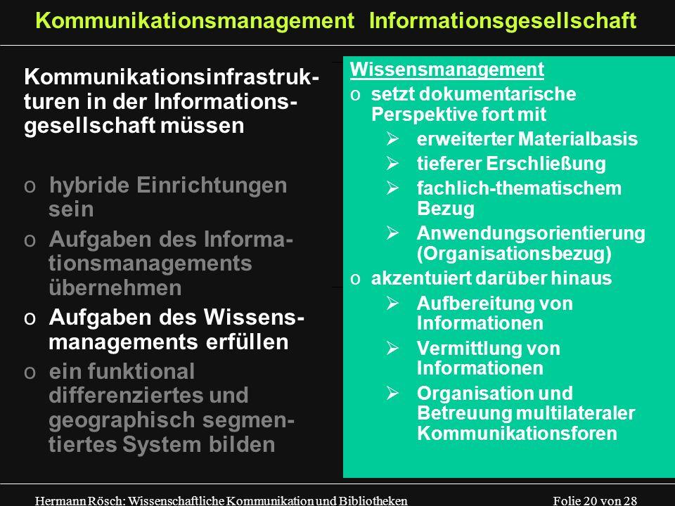 Hermann Rösch: Wissenschaftliche Kommunikation und Bibliotheken Folie 20 von 28 Kommunikationsmanagement Informationsgesellschaft Kommunikationsinfras
