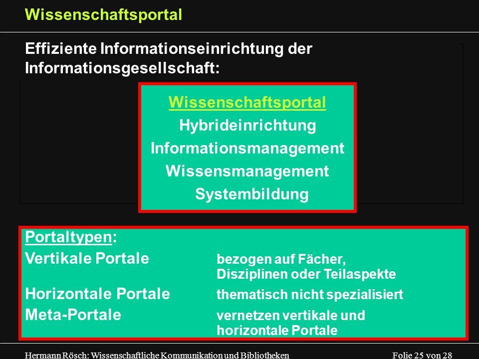 Hermann Rösch: Wissenschaftliche Kommunikation und Bibliotheken Folie 25 von 28 Wissenschaftsportal Effiziente Informationseinrichtung der Information