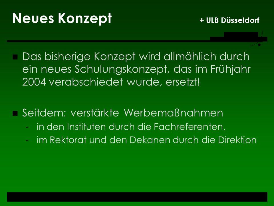 Neues Konzept + ULB Düsseldorf Das bisherige Konzept wird allmählich durch ein neues Schulungskonzept, das im Frühjahr 2004 verabschiedet wurde, erset