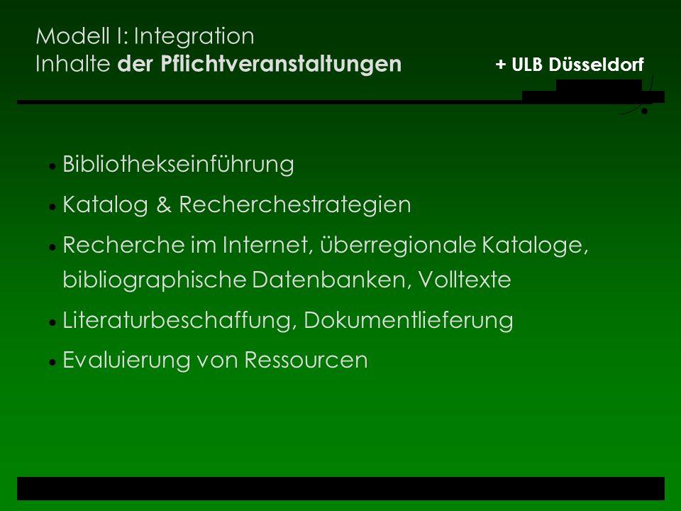 Modell I: Integration Inhalte der Pflichtveranstaltungen + ULB Düsseldorf Bibliothekseinführung Katalog & Recherchestrategien Recherche im Internet, ü