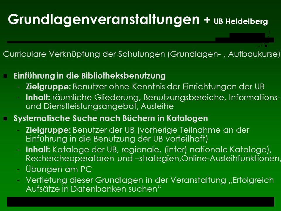 Grundlagenveranstaltungen + UB Heidelberg Curriculare Verknüpfung der Schulungen (Grundlagen-, Aufbaukurse) Einführung in die Bibliotheksbenutzung - Z