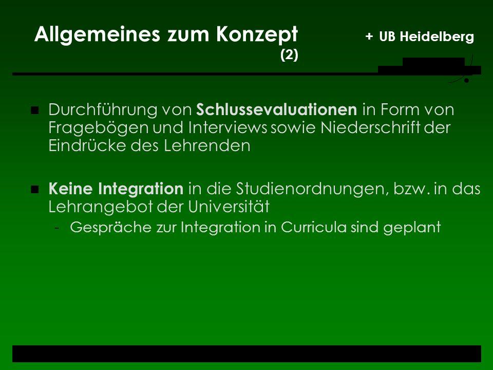 Allgemeines zum Konzept + UB Heidelberg (2) Durchführung von Schlussevaluationen in Form von Fragebögen und Interviews sowie Niederschrift der Eindrüc