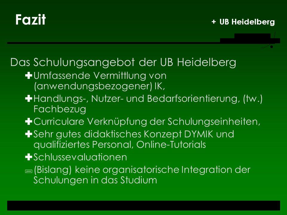 Fazit + UB Heidelberg Das Schulungsangebot der UB Heidelberg Umfassende Vermittlung von (anwendungsbezogener) IK, Handlungs-, Nutzer- und Bedarfsorien