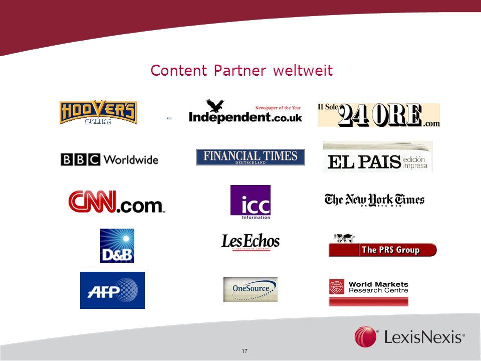 17 Content Partner weltweit