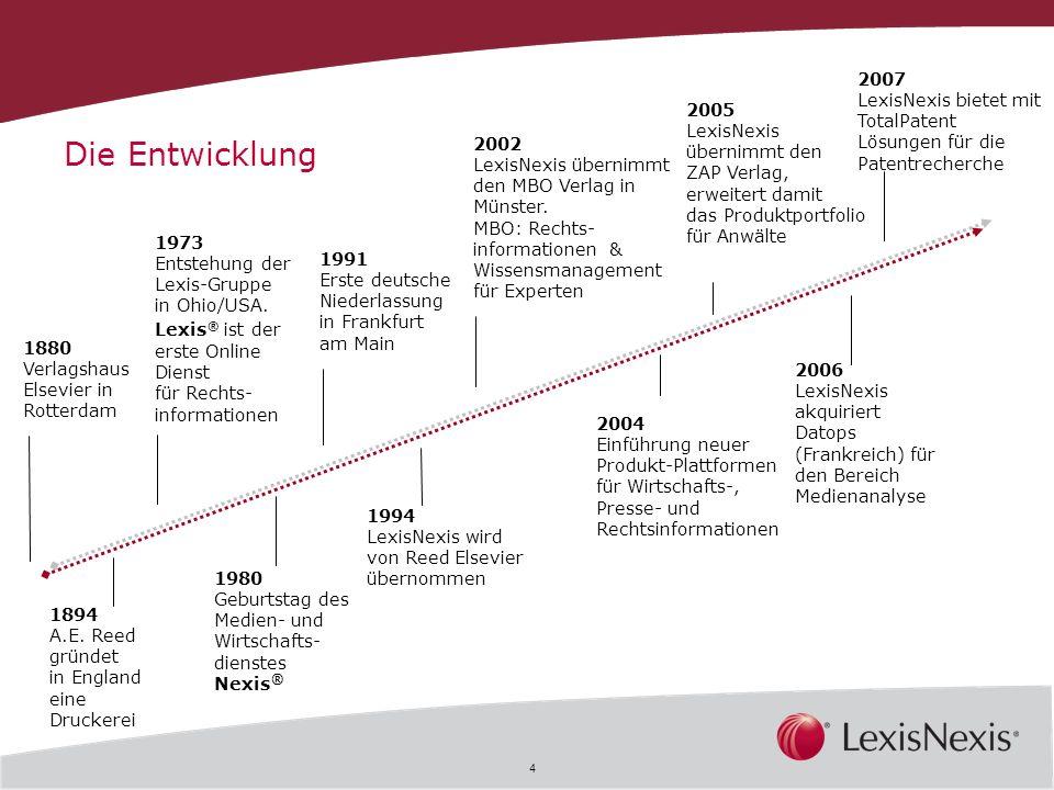 4 1880 Verlagshaus Elsevier in Rotterdam 1973 Entstehung der Lexis-Gruppe in Ohio/USA. Lexis ® ist der erste Online Dienst für Rechts- informationen 1