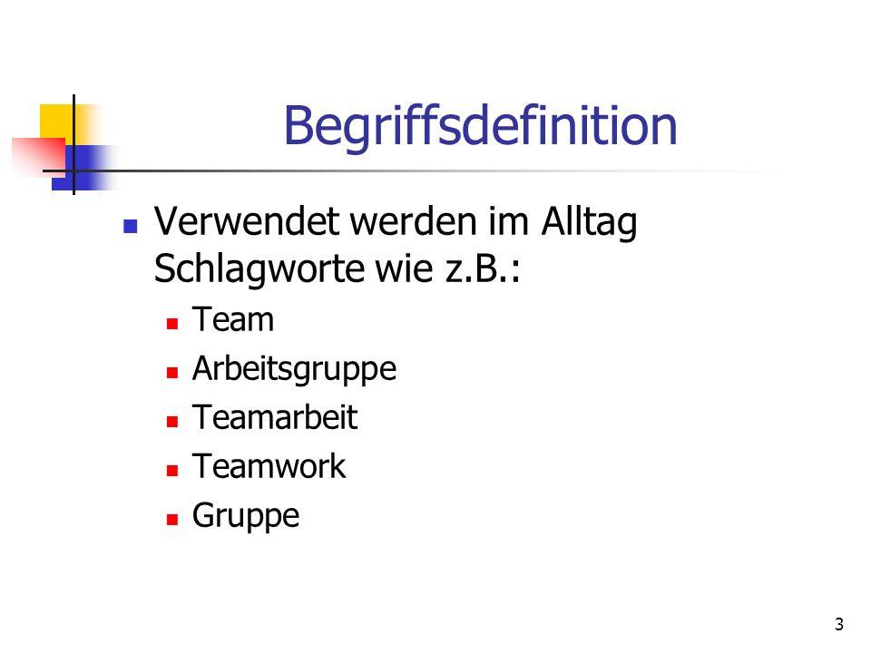 3 Begriffsdefinition Verwendet werden im Alltag Schlagworte wie z.B.: Team Arbeitsgruppe Teamarbeit Teamwork Gruppe