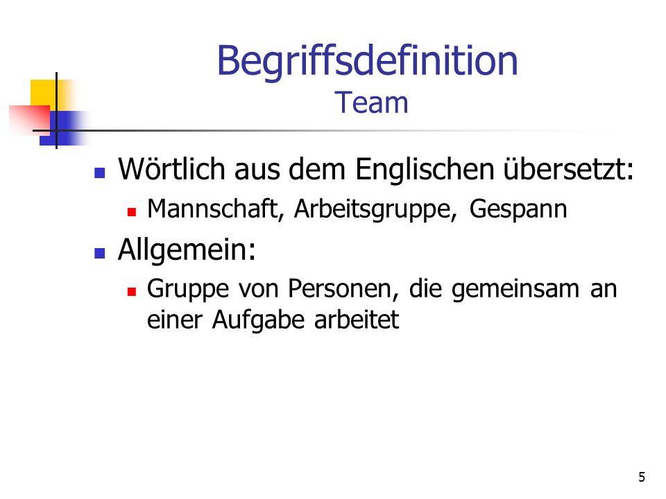 5 Begriffsdefinition Team Wörtlich aus dem Englischen übersetzt: Mannschaft, Arbeitsgruppe, Gespann Allgemein: Gruppe von Personen, die gemeinsam an e