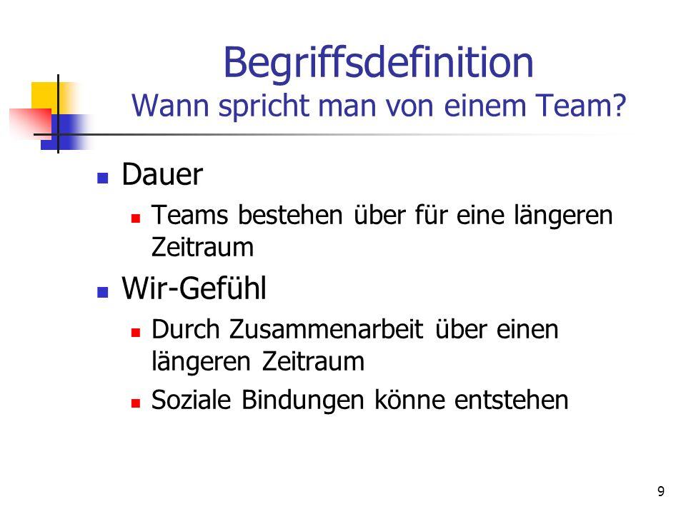 9 Begriffsdefinition Wann spricht man von einem Team? Dauer Teams bestehen über für eine längeren Zeitraum Wir-Gefühl Durch Zusammenarbeit über einen