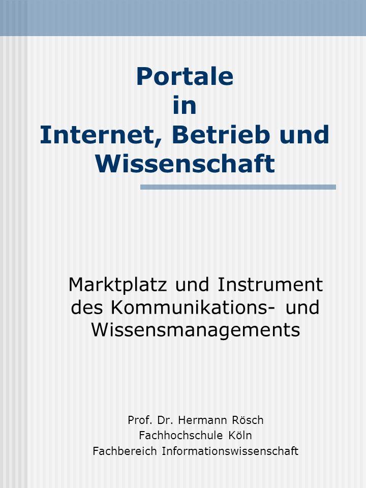 Hermann Rösch32 Portale Zusammenfassung (2) Leistungen des Portals: Reduction of information overload Komplexitätsreduktion durch Personalisierung Steigerung der Kunden-/ Benutzerbindung durch Steigerung der Interaktion Kommerzielles Potential durch strategische Allianzen und kommerzielle Geschäftsbe- ziehungen