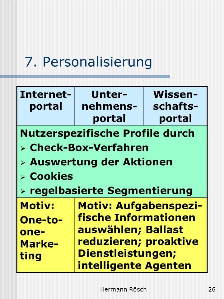 Hermann Rösch26 7. Personalisierung Internet- portal Unter- nehmens- portal Wissen- schafts- portal Nutzerspezifische Profile durch Check-Box-Verfahre