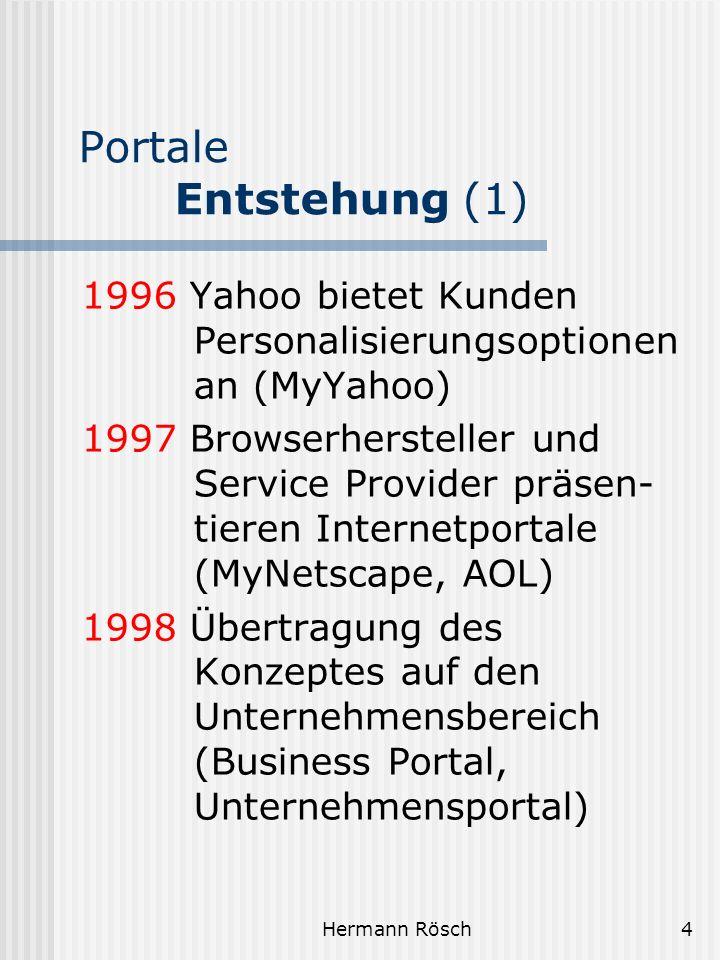 Hermann Rösch5 Portale Entstehung (2) 1999 Zahlreiche Großunter- nehmen setzen Portal- software ein 2000 Differenzierung der Unternehmensportale: B2B-Portale, vertikale Portale 2001 Bibliotheken – Portale zum globalen Wissen (Motto des deutschen Bibliothekartages 2001 in Bielefeld)