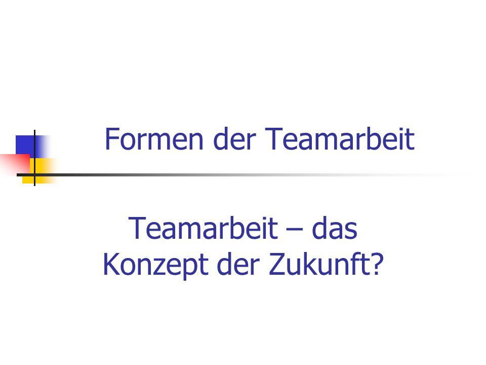 Formen der Teamarbeit Teamarbeit – das Konzept der Zukunft?