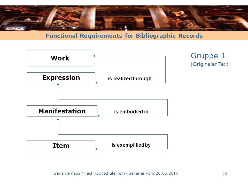 Functional Requirements for Bibliographic Records Irena de Reus / Fachhochschule Köln / Seminar vom 26.05.2010 17.