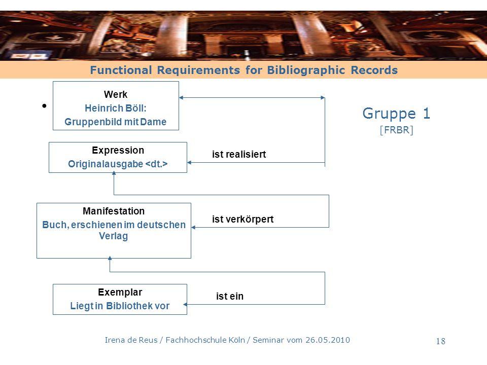 Functional Requirements for Bibliographic Records Irena de Reus / Fachhochschule Köln / Seminar vom 26.05.2010 18 Werk Heinrich Böll: Gruppenbild mit