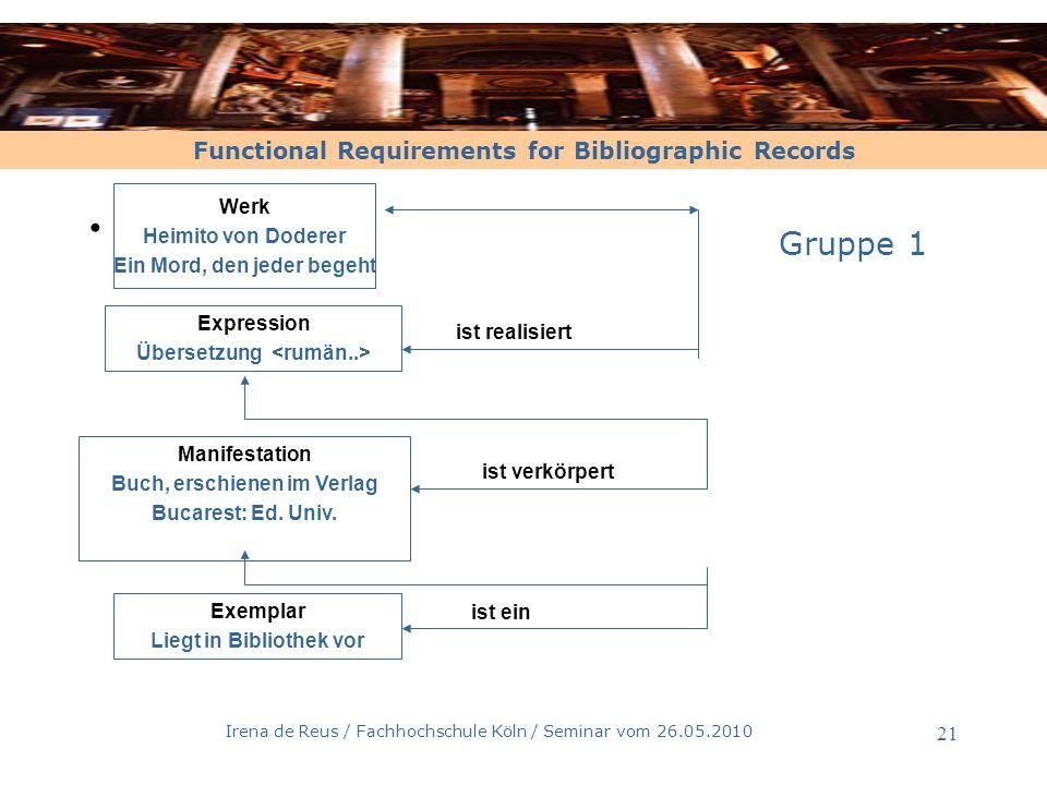 Functional Requirements for Bibliographic Records Irena de Reus / Fachhochschule Köln / Seminar vom 26.05.2010 21 Werk Heimito von Doderer Ein Mord, d