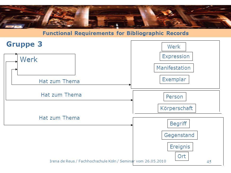 Functional Requirements for Bibliographic Records Irena de Reus / Fachhochschule Köln / Seminar vom 26.05.2010 46 Entitäten der Gruppe 3 und ihre Definitionen –1 - Begriff [nach FRBR, 3.2.7] ein abstrakter Gedanke eine Idee kann Thema eines Werkes sei Beispiele: -Die Wirtschaft -Die Romantik -Die Hydrokultur