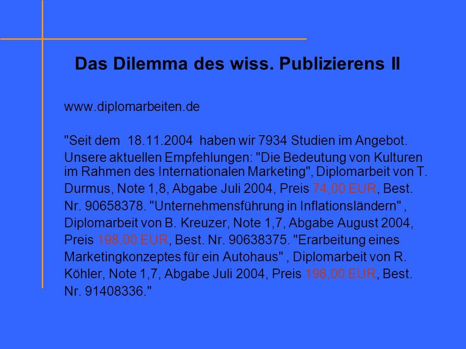Das Dilemma des wiss. Publizierens II www.diplomarbeiten.de