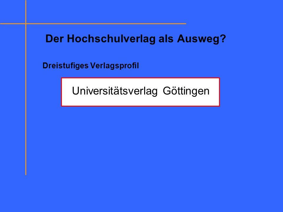 Der Hochschulverlag als Ausweg? Dreistufiges Verlagsprofil Universitätsverlag Göttingen