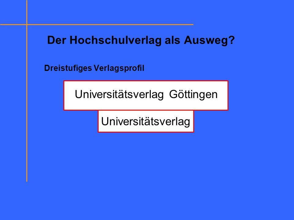 Der Hochschulverlag als Ausweg? Dreistufiges Verlagsprofil Universitätsverlag Universitätsverlag Göttingen