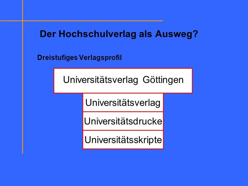 Der Hochschulverlag als Ausweg? Dreistufiges Verlagsprofil Universitätsverlag Universitätsdrucke Universitätsskripte Universitätsverlag Göttingen