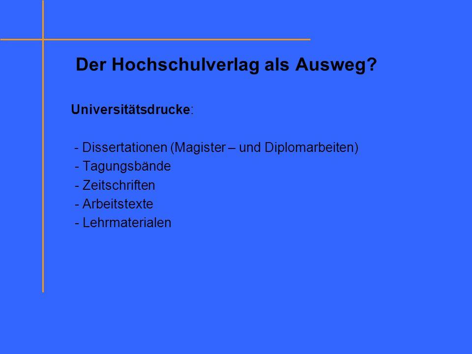 Der Hochschulverlag als Ausweg? Universitätsdrucke: - Dissertationen (Magister – und Diplomarbeiten) - Tagungsbände - Zeitschriften - Arbeitstexte - L