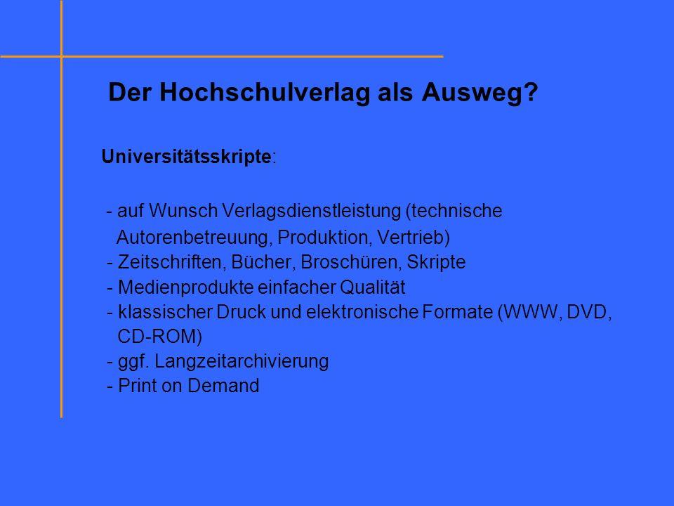 Der Hochschulverlag als Ausweg? Universitätsskripte: - auf Wunsch Verlagsdienstleistung (technische Autorenbetreuung, Produktion, Vertrieb) - Zeitschr