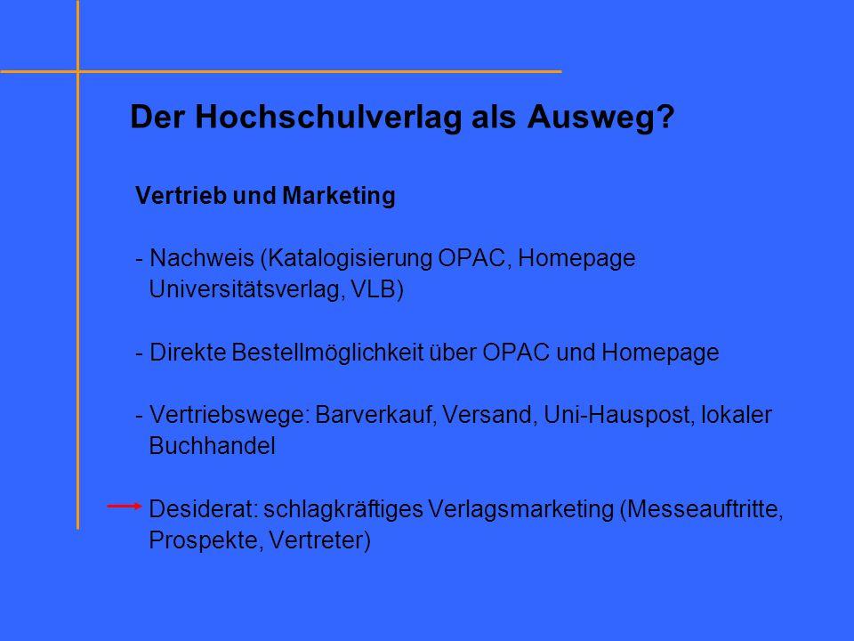 Der Hochschulverlag als Ausweg? Vertrieb und Marketing - Nachweis (Katalogisierung OPAC, Homepage Universitätsverlag, VLB) - Direkte Bestellmöglichkei