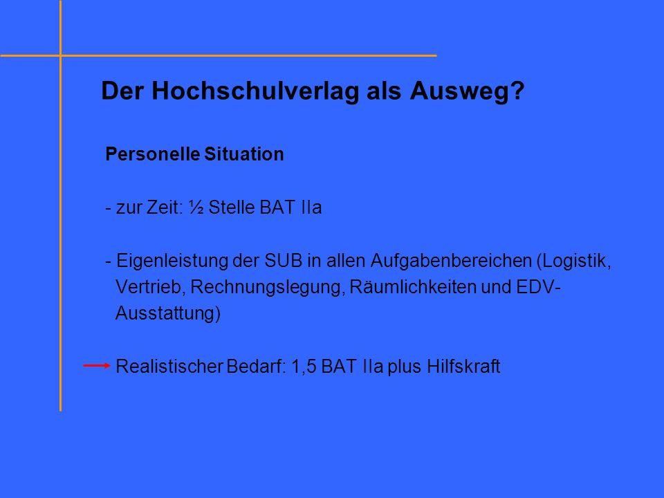 Personelle Situation - zur Zeit: ½ Stelle BAT IIa - Eigenleistung der SUB in allen Aufgabenbereichen (Logistik, Vertrieb, Rechnungslegung, Räumlichkei