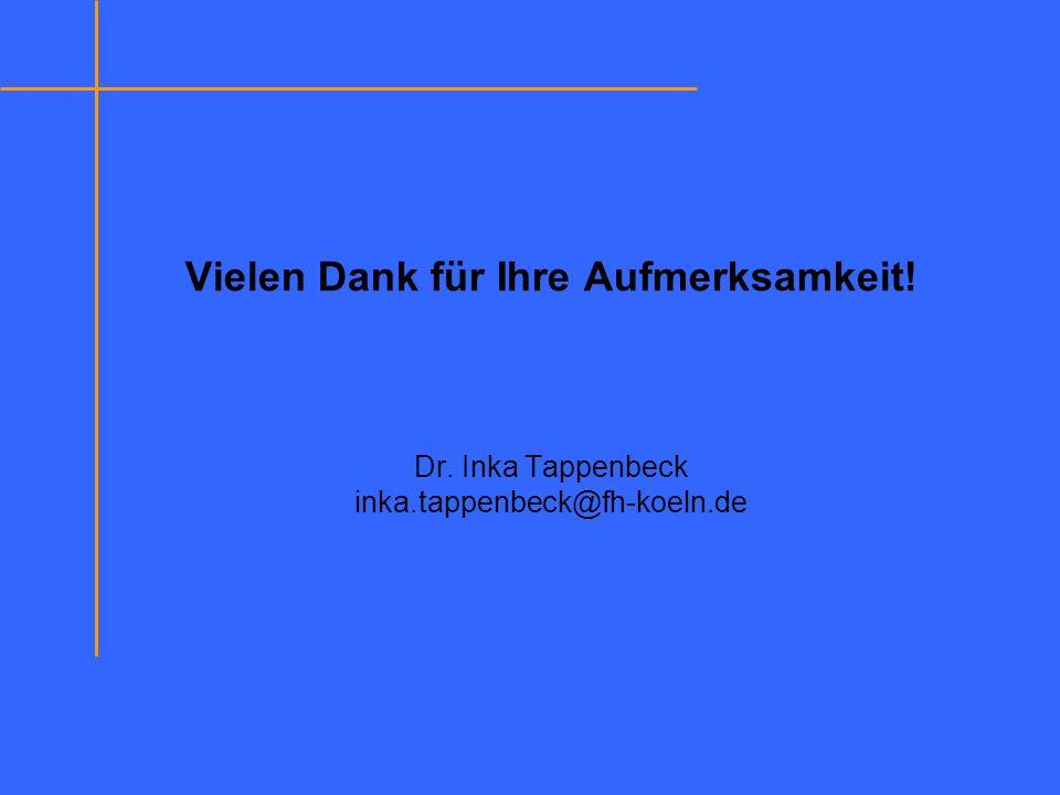 Vielen Dank für Ihre Aufmerksamkeit! Dr. Inka Tappenbeck inka.tappenbeck@fh-koeln.de