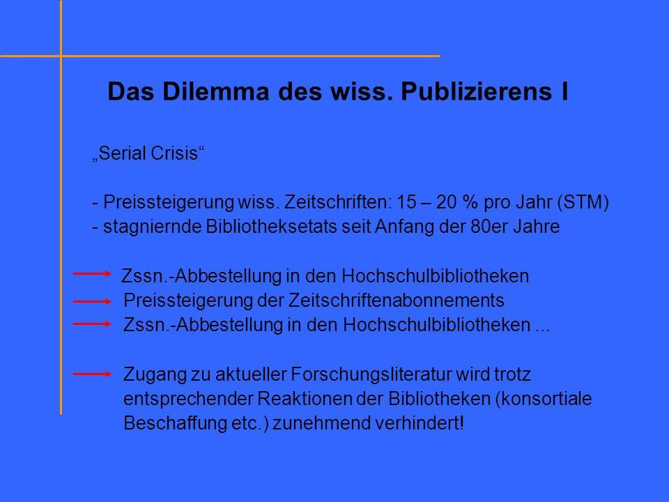 Das Dilemma des wiss. Publizierens I Serial Crisis - Preissteigerung wiss. Zeitschriften: 15 – 20 % pro Jahr (STM) - stagniernde Bibliotheksetats seit