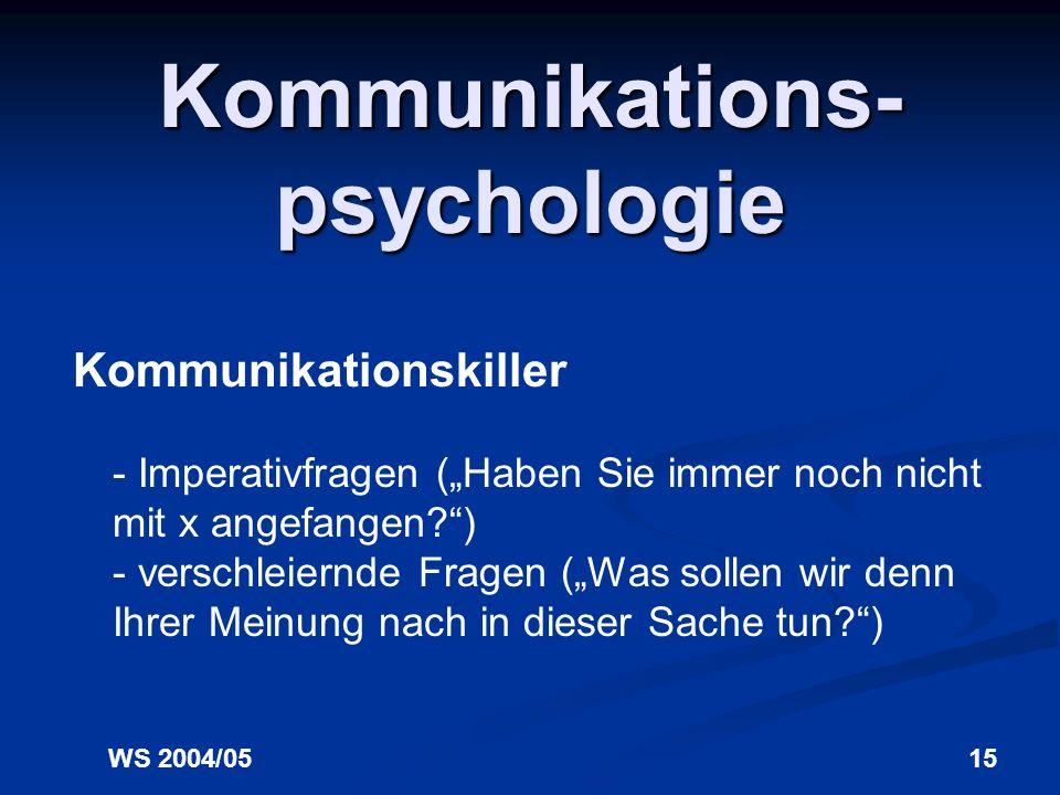 WS 2004/0514 Kommunikations- psychologie Kommunikationskiller 11. Scheinfragen - Suggestivfragen (Finden Sie nicht auch, dass...) - schuldandeutende F