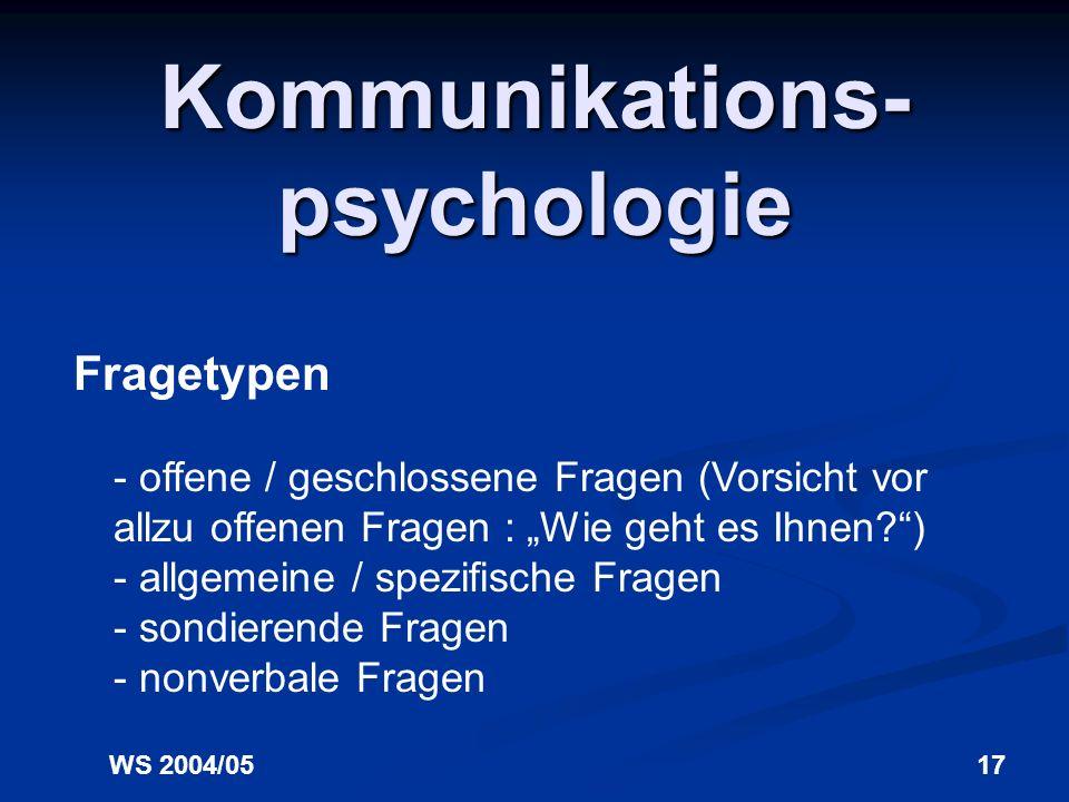 WS 2004/0516 Kommunikations- psychologie Kommunikationskiller - doppelte Suggestivfragen (Finden Sie nicht auch, dass... Warum haben Sie dann nicht...
