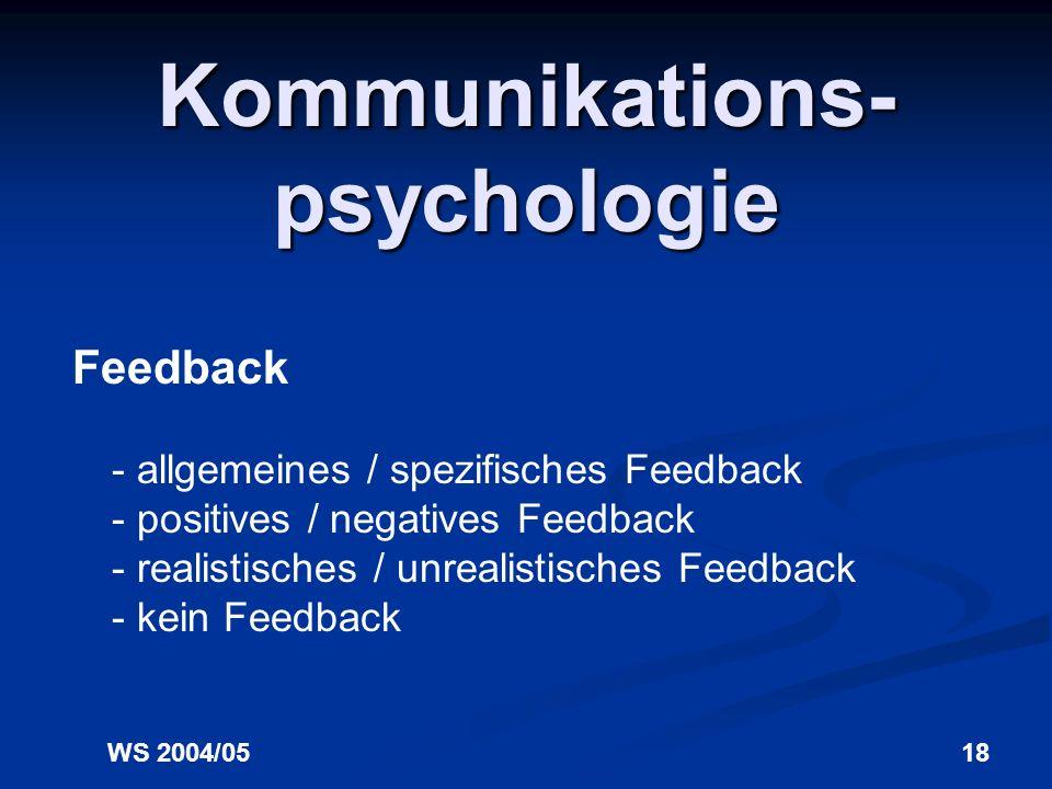 WS 2004/0517 Kommunikations- psychologie Fragetypen - offene / geschlossene Fragen (Vorsicht vor allzu offenen Fragen : Wie geht es Ihnen?) - allgemei