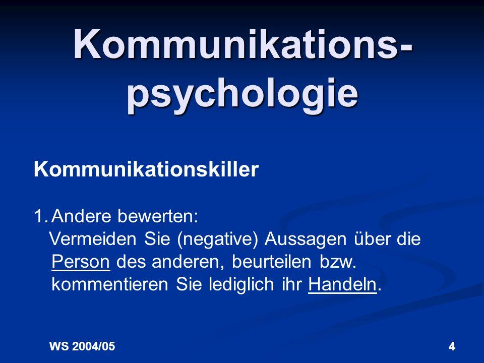 WS 2004/053 Kommunikations- psychologie Kommunikation ist hochgradig komplex. Erfolgreiche Kommunikation im Sinne eines 1:1 Transfers der Information