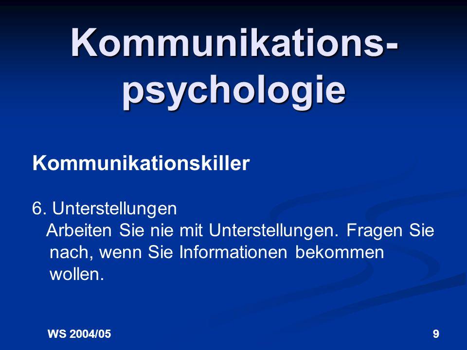 WS 2004/058 Kommunikations- psychologie Kommunikationskiller 5. Befehle Vermeiden Sie einen befehlenden Sprachstil, verpacken Sie Aufforderungen in Bi