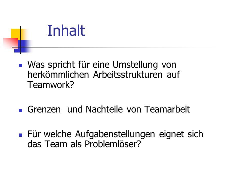 Welche Faktoren sprechen für eine Umstellung auf Teamwork.