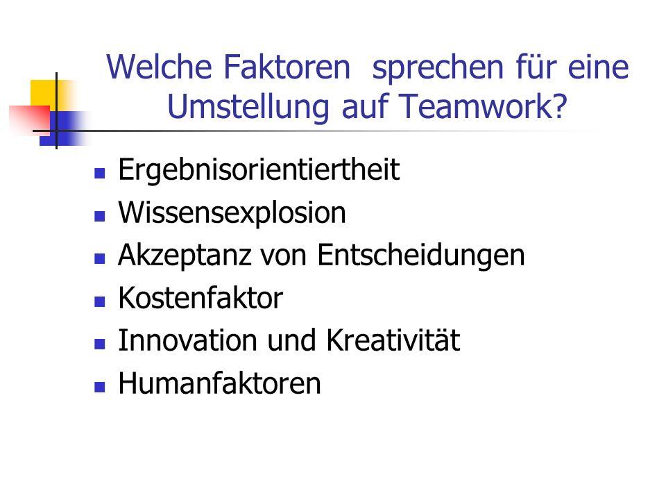 Grenzen von Teamarbeit Obwohl Teamarbeit generell gesehen die bessere Arbeitsform ist, gibt es Aufgaben für die im Prinzip nur Einzelarbeit in Frage kommt: Routinearbeiten, die innerhalb kurzer Zeit erledigt werden sollen Aufgaben, die in keinem Zusammenhang mit anderen Arbeitsschritten stehen