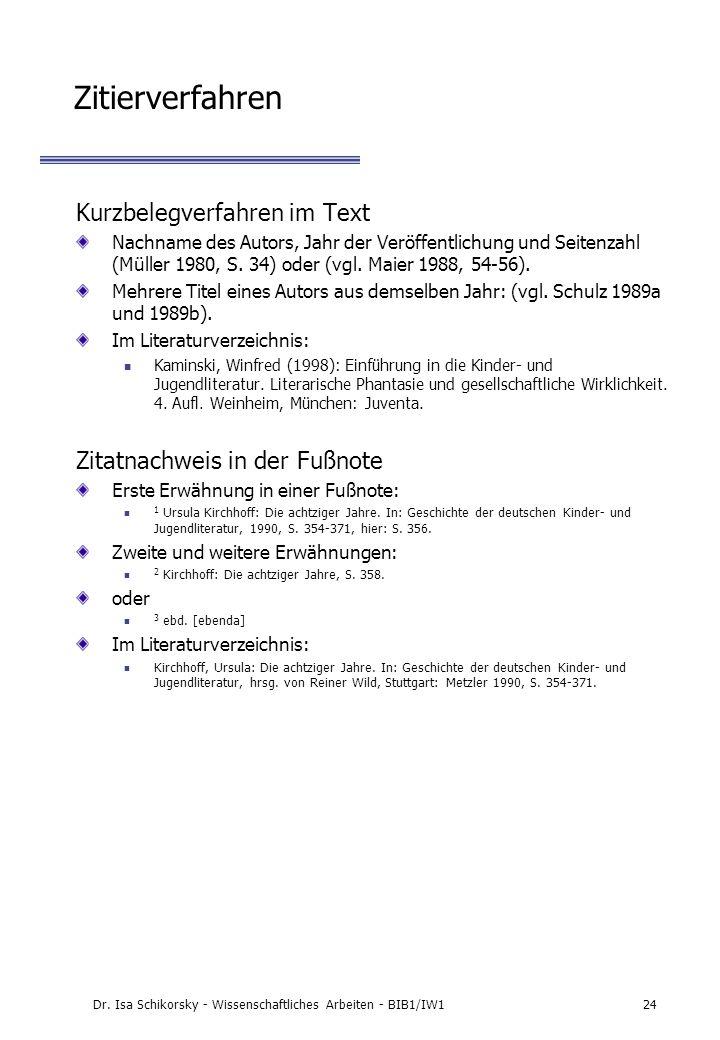 Dr. Isa Schikorsky - Wissenschaftliches Arbeiten - BIB1/IW124 Zitierverfahren Kurzbelegverfahren im Text Nachname des Autors, Jahr der Veröffentlichun