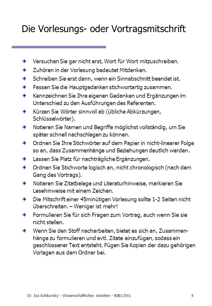 Dr. Isa Schikorsky - Wissenschaftliches Arbeiten - BIB1/IW126 Beispiel: Belegverfahren mit Fußnoten