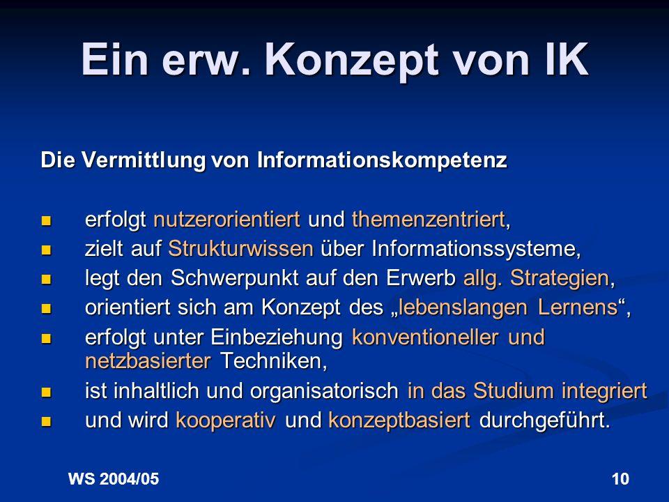 WS 2004/059 Ein erw. Konzept von IK Informationskompetenz ist die Fähigkeit, eigenen Informationsbedarf zu erkennen u. präzise zu formulieren, eigenen