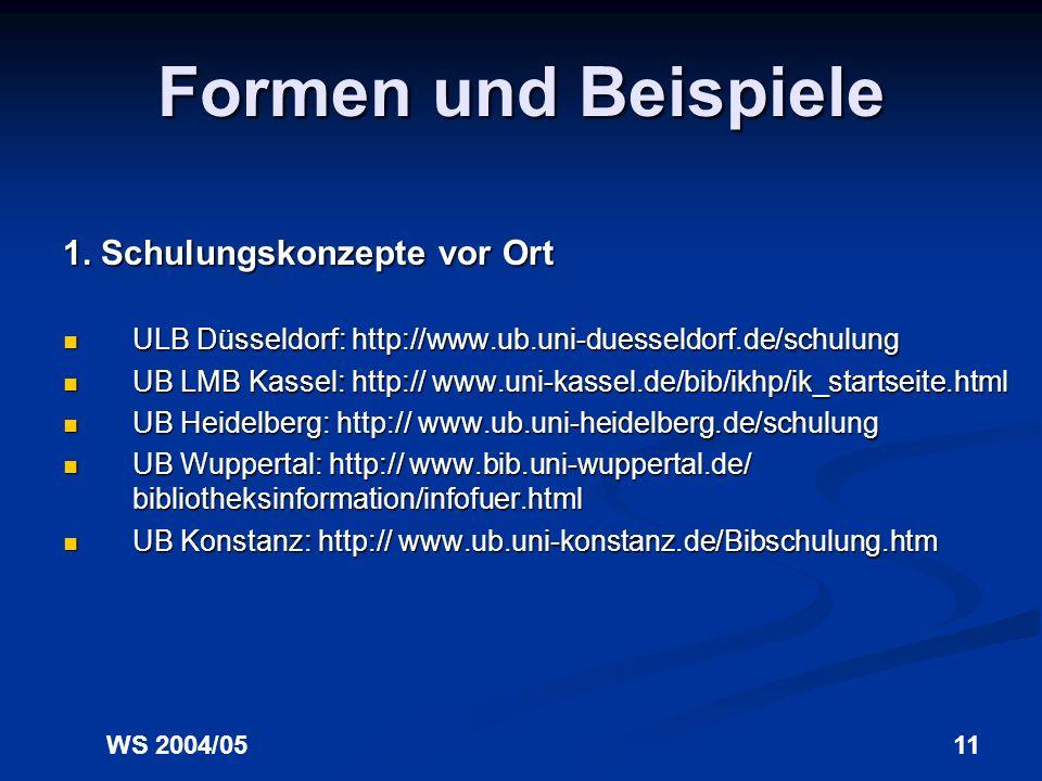 WS 2004/0510 Ein erw. Konzept von IK Die Vermittlung von Informationskompetenz erfolgt nutzerorientiert und themenzentriert, erfolgt nutzerorientiert