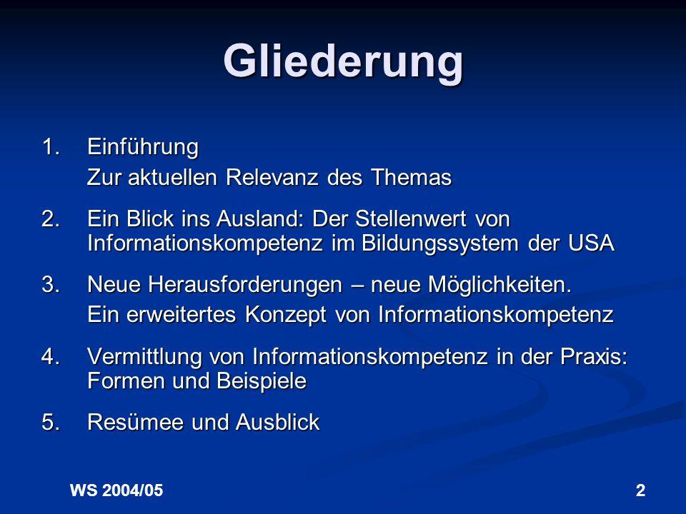 WS 2004/05 Dr. Inka Tappenbeck Vermittlung von Informationskompetenz