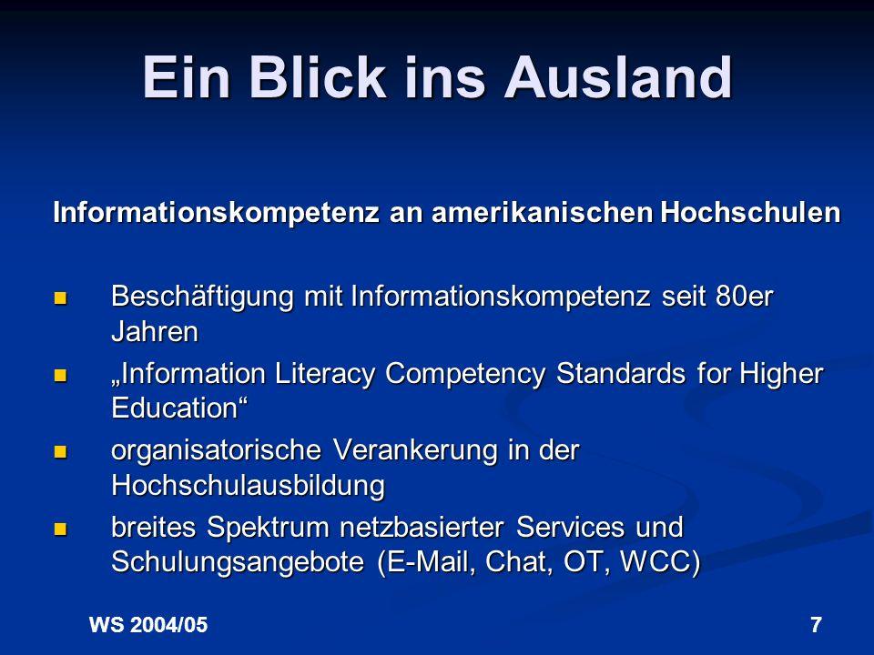 WS 2004/056 Einführung Informationskompetenz an deutschen Hochschulen Ursachen: unattraktive und ineffiziente Schulungsangebote unattraktive und ineff