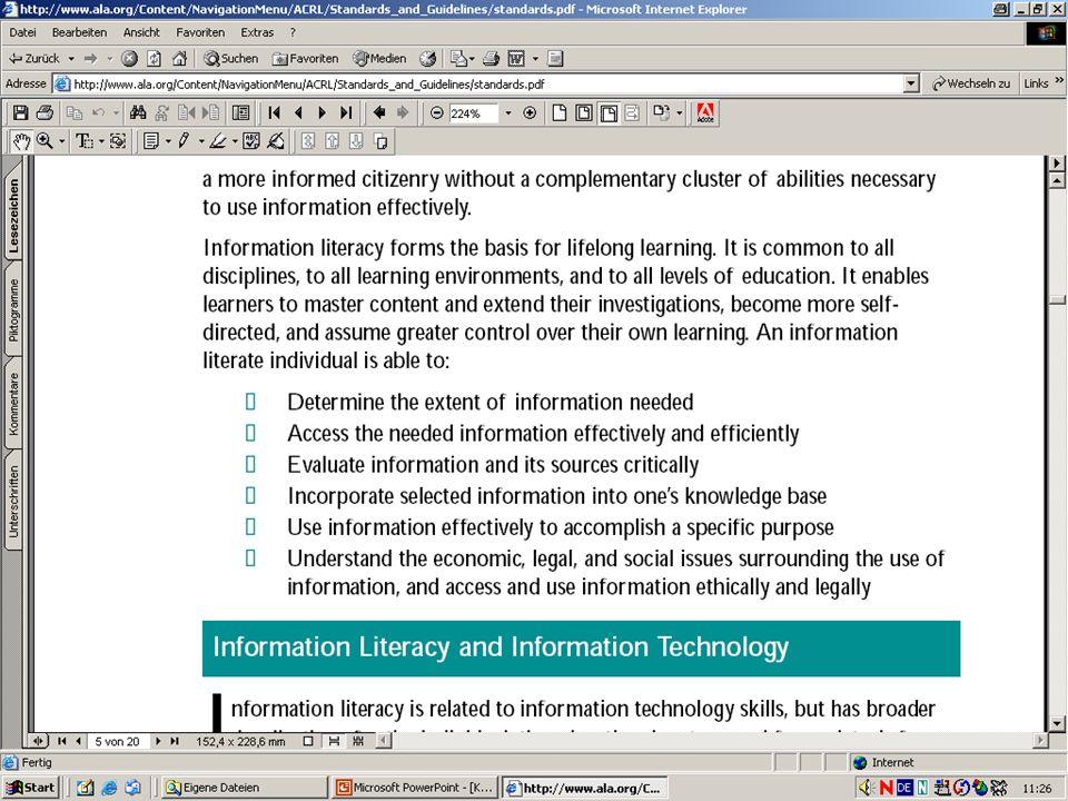 WS 2004/057 Ein Blick ins Ausland Informationskompetenz an amerikanischen Hochschulen Beschäftigung mit Informationskompetenz seit 80er Jahren Beschäf