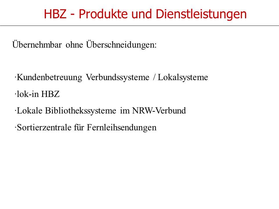HBZ - Produkte und Dienstleistungen ·Kundenbetreuung Verbundssysteme / Lokalsysteme ·lok-in HBZ ·Lokale Bibliothekssysteme im NRW-Verbund ·Sortierzentrale für Fernleihsendungen Übernehmbar ohne Überschneidungen: