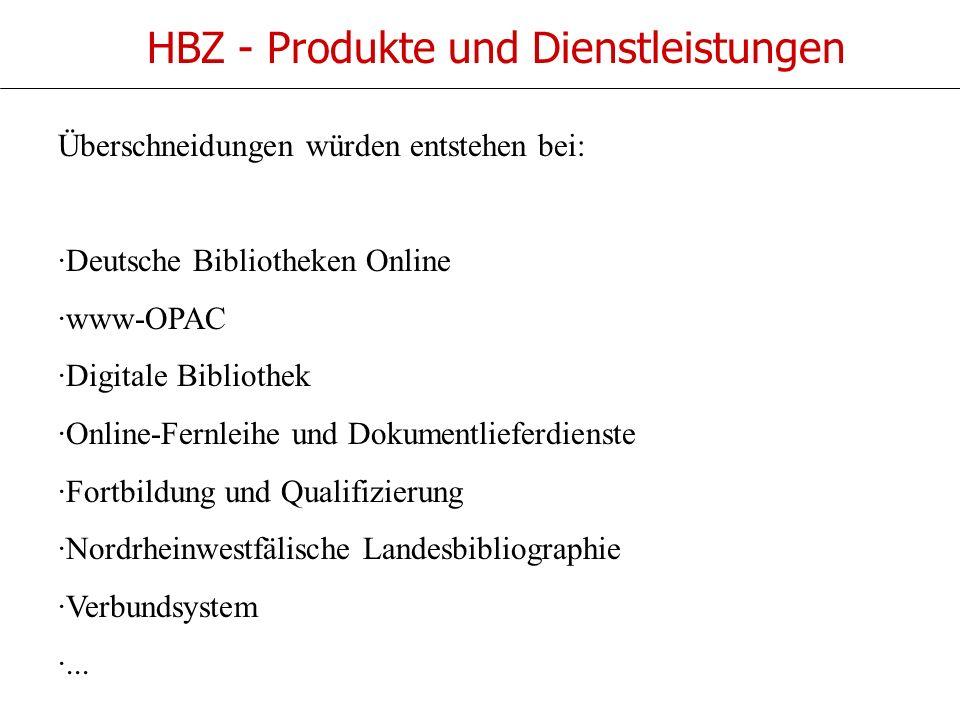 HBZ - Produkte und Dienstleistungen Überschneidungen würden entstehen bei: ·Deutsche Bibliotheken Online ·www-OPAC ·Digitale Bibliothek ·Online-Fernleihe und Dokumentlieferdienste ·Fortbildung und Qualifizierung ·Nordrheinwestfälische Landesbibliographie ·Verbundsystem ·...
