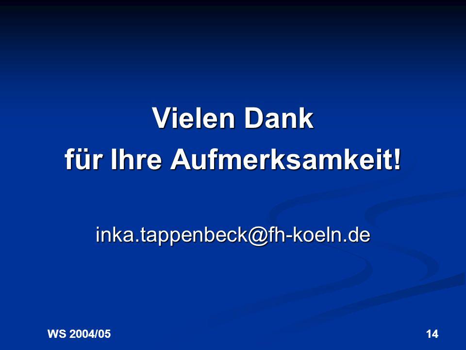 WS 2004/0514 Vielen Dank für Ihre Aufmerksamkeit! inka.tappenbeck@fh-koeln.de