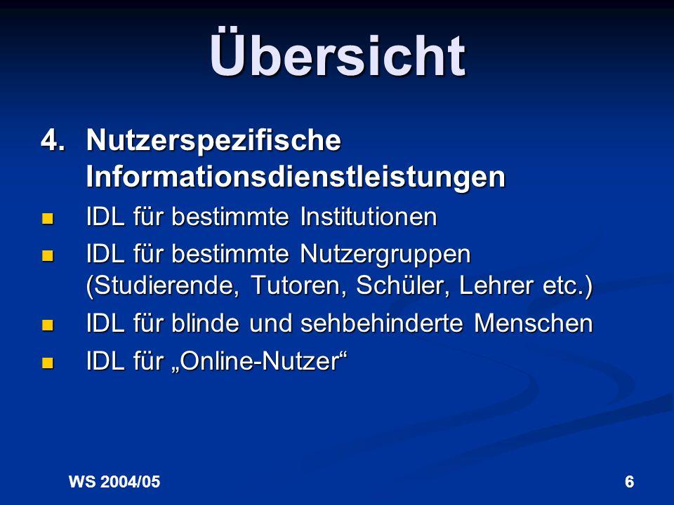 WS 2004/056 Übersicht 4.Nutzerspezifische Informationsdienstleistungen IDL für bestimmte Institutionen IDL für bestimmte Institutionen IDL für bestimmte Nutzergruppen (Studierende, Tutoren, Schüler, Lehrer etc.) IDL für bestimmte Nutzergruppen (Studierende, Tutoren, Schüler, Lehrer etc.) IDL für blinde und sehbehinderte Menschen IDL für blinde und sehbehinderte Menschen IDL für Online-Nutzer IDL für Online-Nutzer