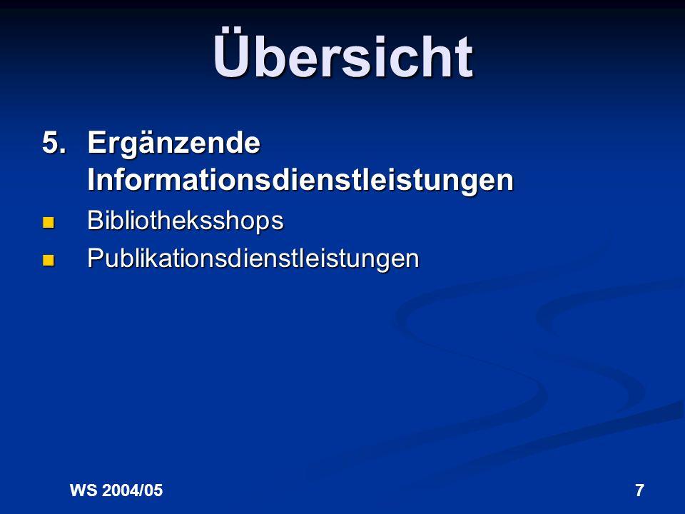 WS 2004/057 Übersicht 5.Ergänzende Informationsdienstleistungen Bibliotheksshops Bibliotheksshops Publikationsdienstleistungen Publikationsdienstleistungen